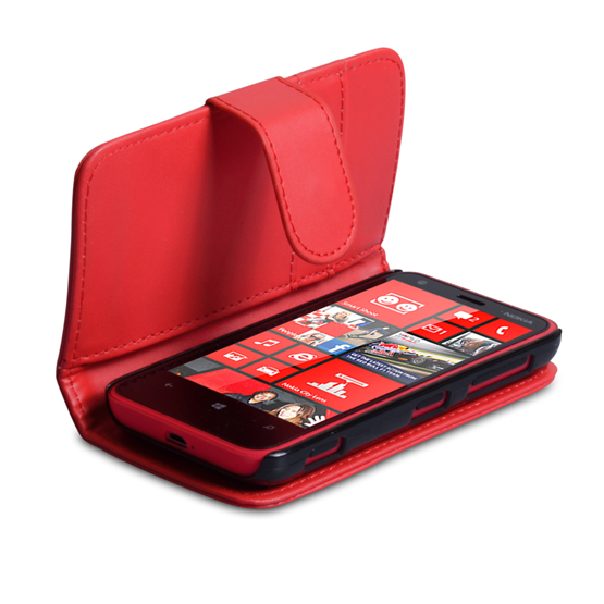 Yousave Accessories Nokia Lumia 620 PU Wallet Red Case