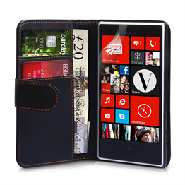 Yousave Accessories Nokia Lumia 720 PU Wallet Black Case
