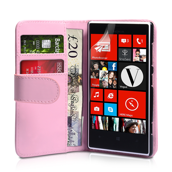 Yousave Accessories Nokia Lumia 720 PU Wallet Baby Pink Case