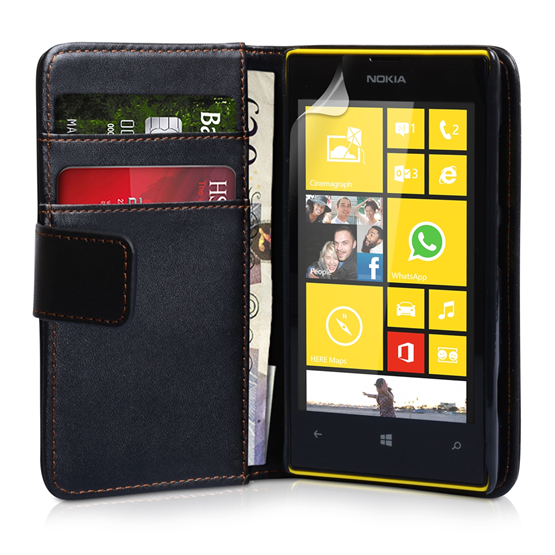 Yousave Accessories Nokia Lumia 520 Leather-Effect Wallet Case - Black