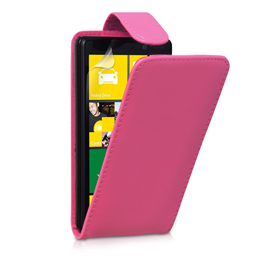 Yousave Accessories Nokia Lumia 820 PU Flip Hot Pink Case