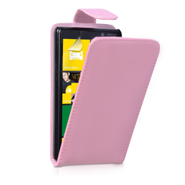 Yousave Accessories Nokia Lumia 820 PU Flip Baby Pink Case