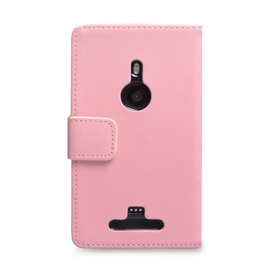 Yousave Accessories Nokia Lumia 925 PU Wallet Baby Pink Case