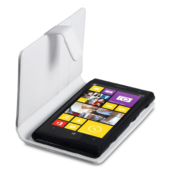 Yousave Accessories Nokia Lumia 1020 White PU Leather Wallet