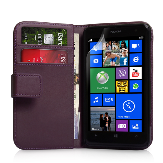 Yousave Accessories Nokia Lumia 625 Leather-Effect Wallet Case - Purple