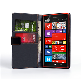 Yousave Accessories Nokia Lumia 1520 Leather-Effect Wallet Case - Black