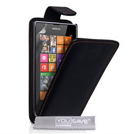 Yousave Accessories Nokia Lumia 525 PU Flip Black Case