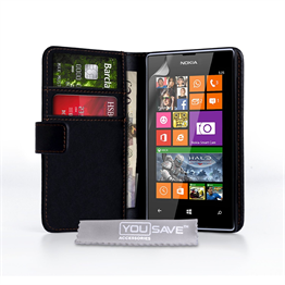 Yousave Accessories Nokia Lumia 525 PU Wallet Black Case