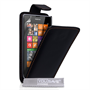 Yousave Accessories Nokia Lumia 525 Real Leather Flip Black Case