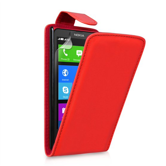 Yousave Accessories Nokia X Leather-Effect Flip Case - Red