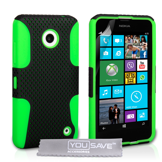 Yousave Accessories Nokia Lumia 630 / 635 Green Mesh Combo