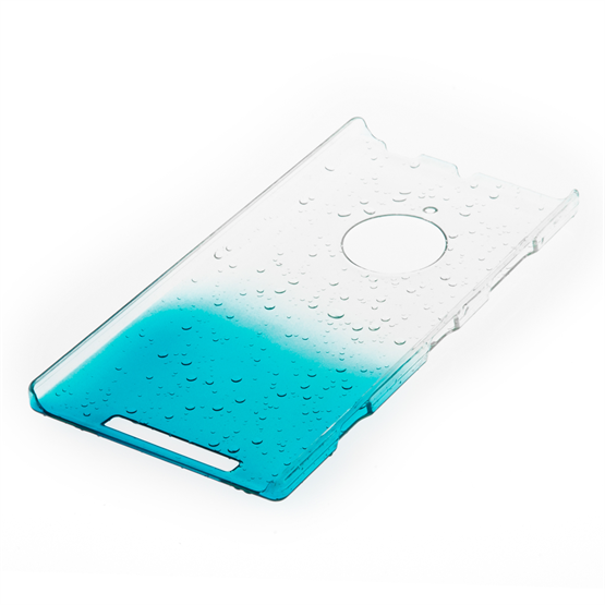 Yousave Accessories Nokia Lumia 830 Raindrop Hard Case - Blue-Clear