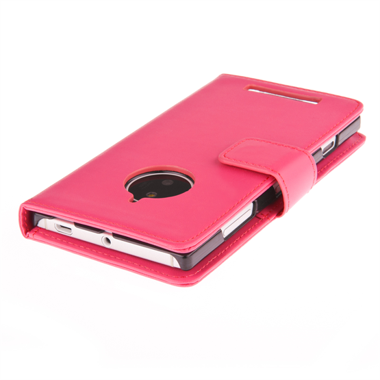 Yousave Accessories Nokia Lumia 830 Leather-Effect Wallet Case - Hot Pink