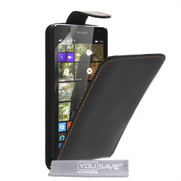 Yousave Accessories Microsoft Lumia 535 Leather-Effect Flip Case - Black