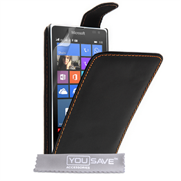Yousave Accessories Microsoft Lumia 532 Leather-Effect Flip Case - Black