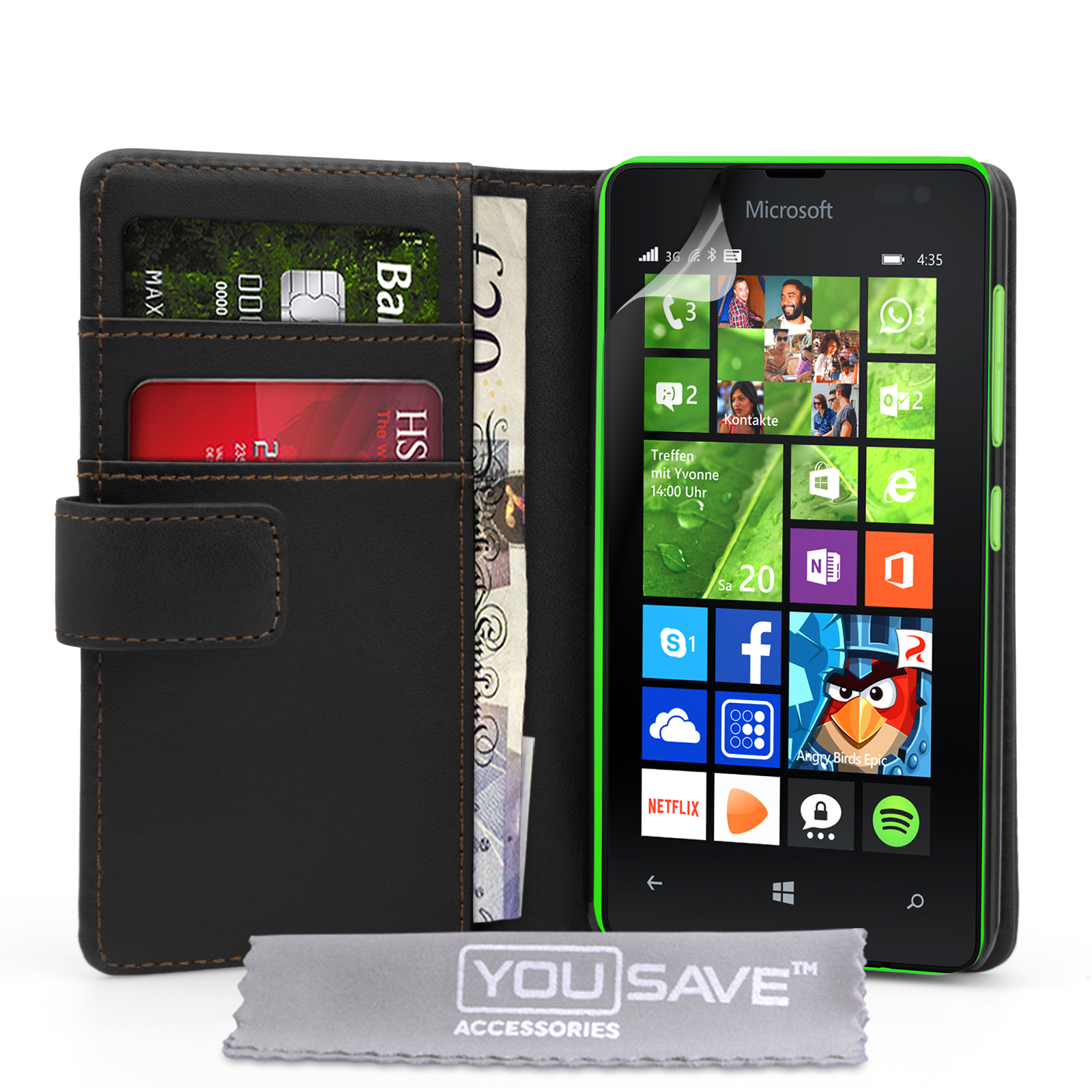 the best attitude 94f3b 41a48 YouSave Accessories Microsoft Lumia 435 Leather Effect Wallet Case ...