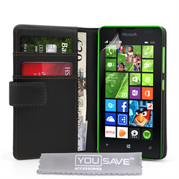 Yousave Accessories Microsoft Lumia 435 Leather-Effect Wallet Case - Black