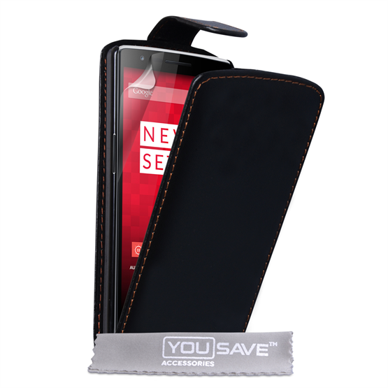 Yousave Accessories One Plus One Leather-Effect Flip Case - Black