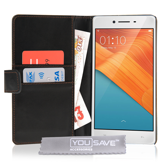 Yousave Accessories Oppo R7 Black PU Wallet
