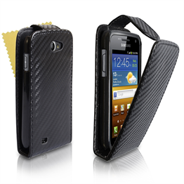 Yousave Accessories Samsung Galaxy W Black Carbon Fibre PU Leather Flip Case
