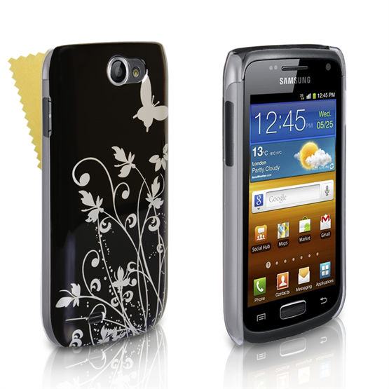 Yousave Accessories Samsung Galaxy W Black/Silver Floral Butterfly IMD Case