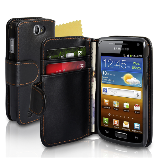 Yousave Accessories Samsung Galaxy W I8150 Black PU Leather Wallet Case