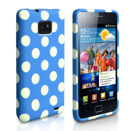 Yousave Accessories Samsung Galaxy S2 Polka Dot Blue Case