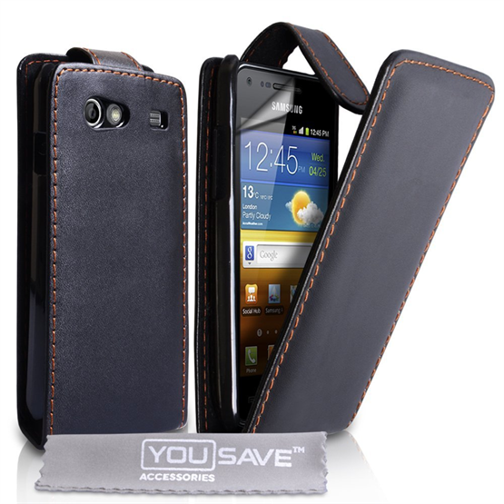 Yousave Accessories Samsung Galaxy Advance PU Flip Black Case
