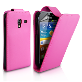 Yousave Accessories Samsung Galaxy Ace Plus Hot Pink PU Leather Flip Case