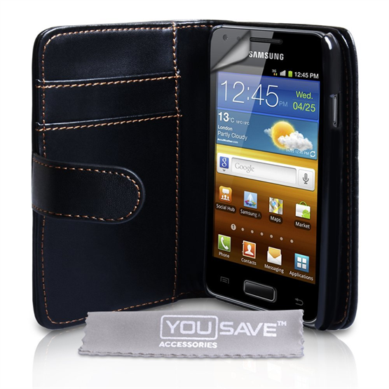 Yousave Accessories Samsung Galaxy S Advance PU Wallet Black Case