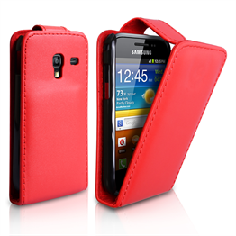 Yousave Accessories Samsung Galaxy Ace Plus Red PU Leather Flip Case
