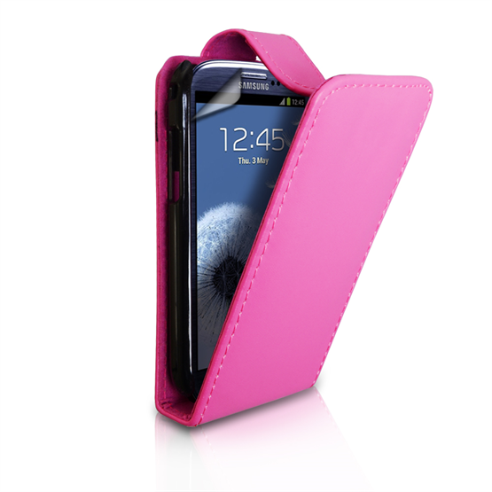 Yousave Accessories Samsung Galaxy S3 Leather-Effect Flip Case - Hot Pink