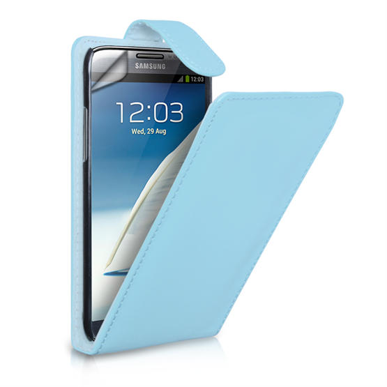 Yousave Accessories Samsung Galaxy Note 2 Flip Pu Baby Blue Case