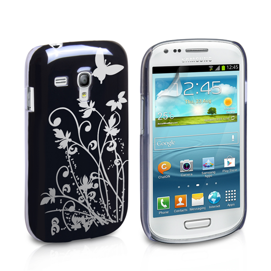 Yousave Accessories Samsung Galaxy S3 Mini Floral Butterfly Hard Case - Black/Silver