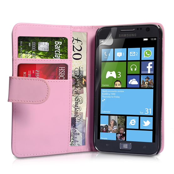 Yousave Accessories Samsung Galaxy Ativ S PU Wallet Baby Pink Case