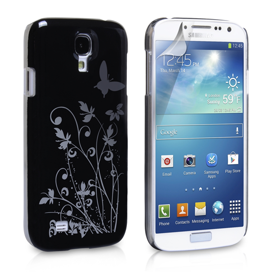 Yousave Accessories Samsung Galaxy S4 Floral Butterfly Hard Case - Black-Silver