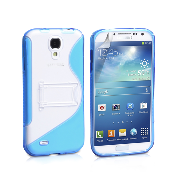 Yousave Accessories Samsung Galaxy S4 PU Stand Blue Case