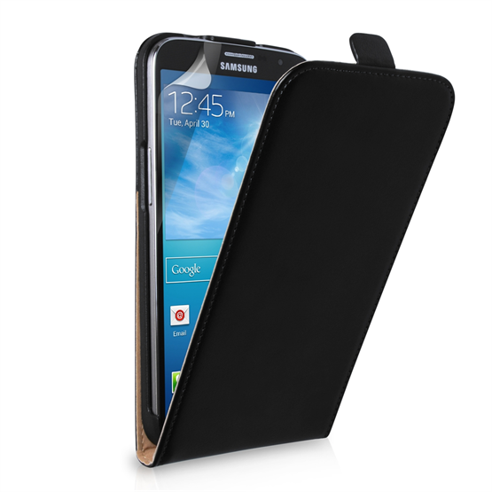 Yousave Accessories Samsung Galaxy Mega 6.3 Real Leather Flip Black Case