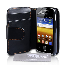 Yousave Accessories Samsung Galaxy Young PU Wallet Black Case