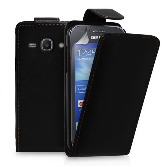 Yousave Accessories Samsung Galaxy Ace 3 PU Flip Black Case