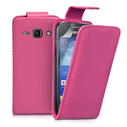 Yousave Accessories Samsung Galaxy Ace 3 PU Flip Hot Pink Case