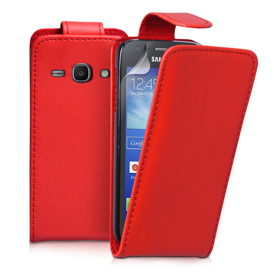 Yousave Accessories Samsung Galaxy Ace 3 PU Flip Red Case