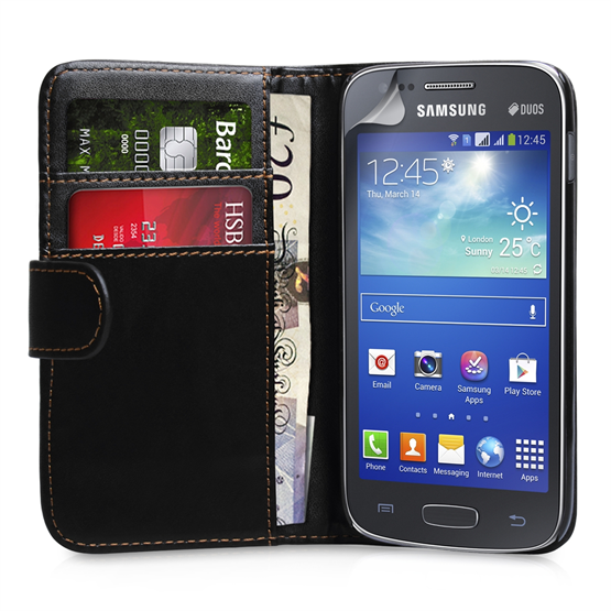 Yousave Accessories Samsung Galaxy Ace 3 PU Wallet Black Case