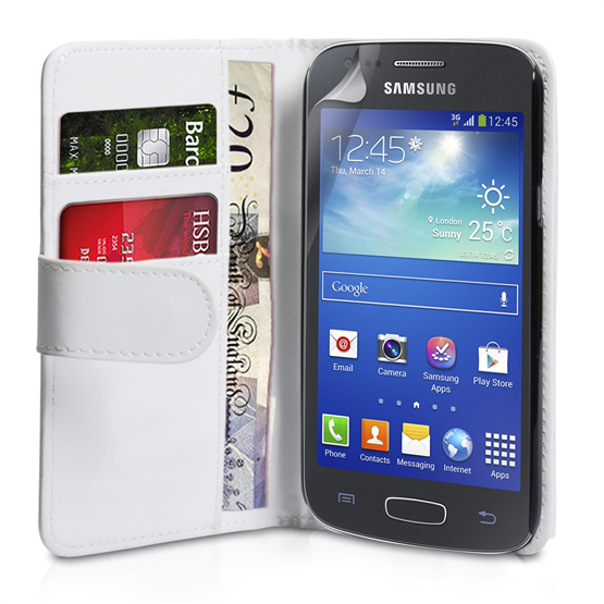 Yousave Accessories Samsung Galaxy Ace 3 PU Wallet White Case