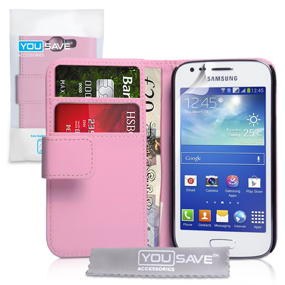 Yousave Accessories Samsung Galaxy Ace 3 PU Wallet Baby Pink Case