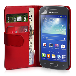 Yousave Accessories Samsung Galaxy Ace 3 PU Wallet Red Case