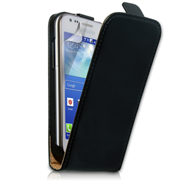 Yousave Accessories Samsung Galaxy Ace 3 Real Leather Flip Black Case