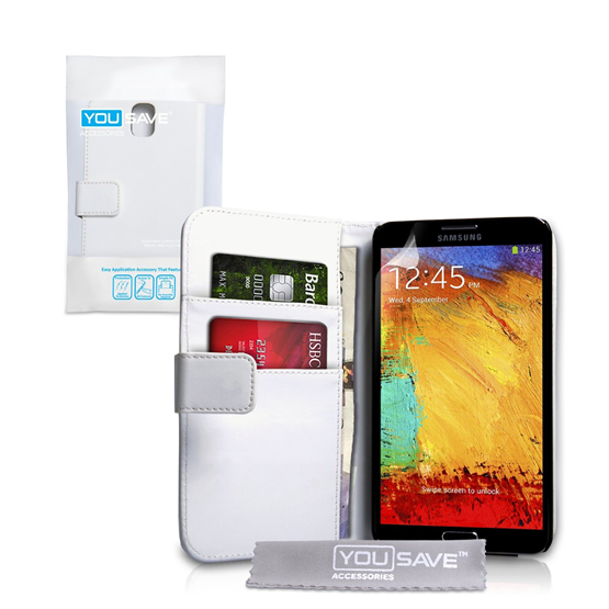 Yousave Accessories Samsung Galaxy Note 3 PU Wallet White Case