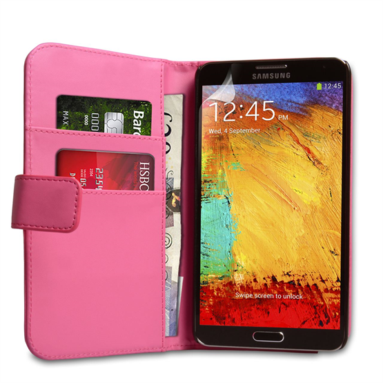 Yousave Accessories Samsung Galaxy Note 3 PU Wallet Hot Pink Case