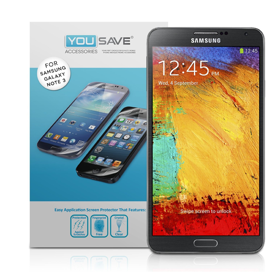 Yousave Accessories Samsung Galaxy Note 3 Screen Protectors X 2 Clear